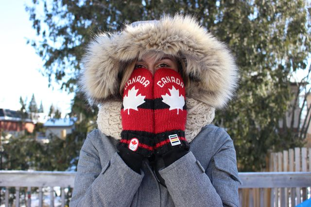 Photo of woman with mitts