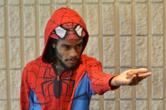 Photo of man dressed as Spiderman
