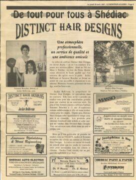 An article from Le Moniteur Acadien on Aug. 28, 1997 features Jackie Belliveau's salon, Distinct Hair Designs, in Shediac, N.B.