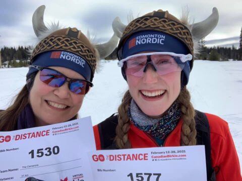 Patty Cameron and her daughter, Robyn Cameron, during their virtual Birkie race.