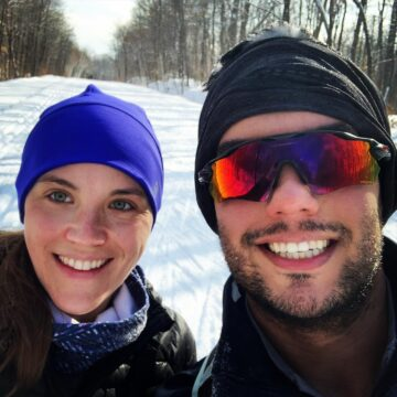 Allyson Moore and Trevor Gotting exploring cross-country ski trails in the greater Ottawa area.
