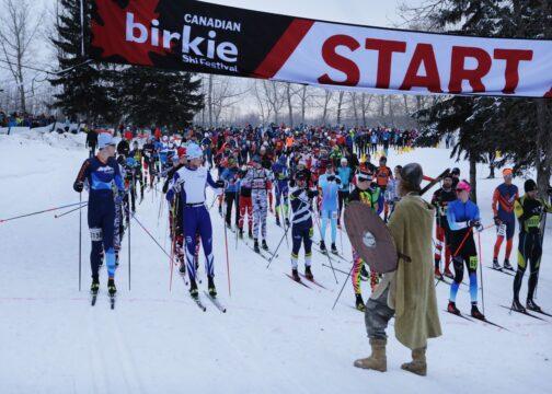 In-person Canadian Birkie Ski Festival start line,