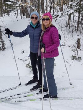 Allyson Moore and her mom, Joy Moore, cross-country skiing in Gatineau Park.